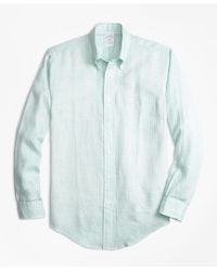 Brooks Brothers | Green Regent Fit Gingham Irish Linen Sport Shirt for Men | Lyst