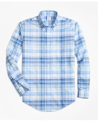 Brooks Brothers | Blue Non-iron Brookscool® Regent Fit Plaid Sport Shirt for Men | Lyst