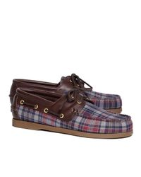 Brooks Brothers | Blue Fall Madras Boat Shoes for Men | Lyst