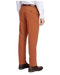 Brooks Brothers - Orange Fitzgerald Fit Brushed Twill Trousers for Men - Lyst