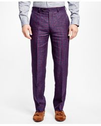 Brooks Brothers | Green Fitzgerald Fit Multi Deco Linen Trousers for Men | Lyst