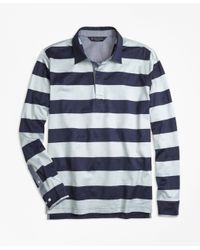 Brooks Brothers | Blue Slim Fit Rugby Stripe Long-sleeve Polo Shirt for Men | Lyst
