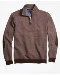 Brooks Brothers | Brown Brushed Terry Bird's-eye Half-zip for Men | Lyst