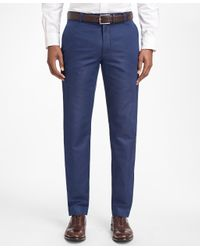 Brooks Brothers | Blue Milano Fit Houndstooth Linen And Cotton Chinos for Men | Lyst