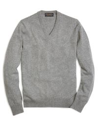 Brooks Brothers   Gray Cashmere V-neck Sweater-basic Colors for Men   Lyst
