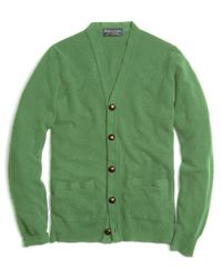 Brooks Brothers | Green Cashmere Button-front Cardigan for Men | Lyst