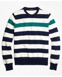 Brooks Brothers | Blue Contrast Chest Stripe Crewneck Sweater for Men | Lyst