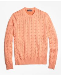Brooks Brothers | Orange Supima® Cotton Cable Knit Crewneck Sweater for Men | Lyst