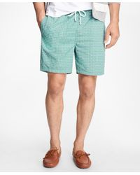"Brooks Brothers | Green Montauk 6"" Paisley Print Swim Trunks for Men 
