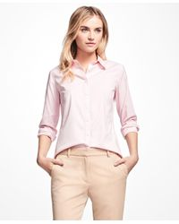 Brooks Brothers | Pink Petite Non-iron Fitted Dress Shirt | Lyst