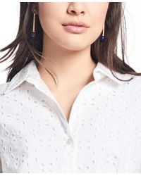 Brooks Brothers - White Cotton Eyelet Shirt Dress - Lyst