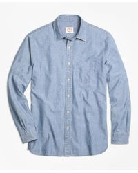 Brooks Brothers | Blue Chambray Spread Collar Sport Shirt for Men | Lyst