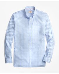 Brooks Brothers | Blue Gingham Broadcloth Sport Shirt for Men | Lyst