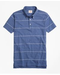 Brooks Brothers | Blue Slub Thin-stripe Polo Shirt for Men | Lyst