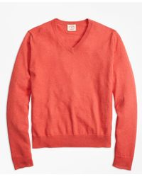 Brooks Brothers | Red Cotton-cashmere V-neck Sweater for Men | Lyst