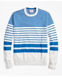 Brooks Brothers | Blue Nautical-stripe Cotton Crewneck Sweater for Men | Lyst