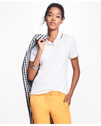 Brooks Brothers | White Tipped Cotton-blend Pique Polo | Lyst