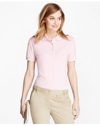 Brooks Brothers | Pink Stripe-tip Pique Polo Shirt | Lyst