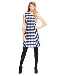 Brooks Brothers | Blue Wool Blend Buffalo Check Sleeveless Dress | Lyst