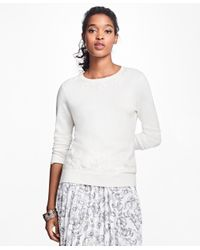 Brooks Brothers | White Floral-embroidered Supima® Cotton Crewneck Sweater | Lyst