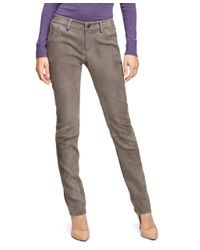 Brooks Brothers | Gray Natalie Fit Suede Pants | Lyst