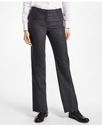 Brooks Brothers | Gray Wool-blend Flannel Full-leg Trousers | Lyst