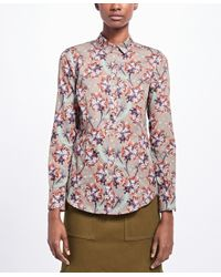 Brooks Brothers - Gray Tailored-fit Floral Cotton Sateen Blouse - Lyst