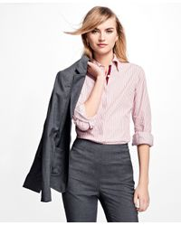 Brooks Brothers   Pink Striped Cotton Dobby Shirt   Lyst