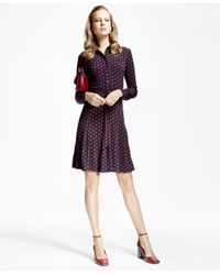 Brooks Brothers | Multicolor Printed Jersey-knit Shirt Dress | Lyst