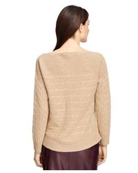 Brooks Brothers | Natural Cashmere Cable Boatneck Sweater | Lyst