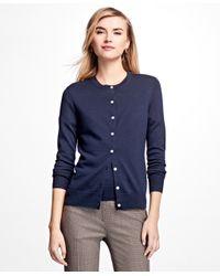 Brooks Brothers   Blue Long-sleeve Saxxon Wool Cardigan   Lyst