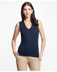 Brooks Brothers | Blue Sleeveless Cotton-rayon Deep V-neck Shell | Lyst