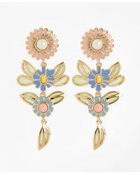 Brooks Brothers - Metallic Floral Drop Earrings - Lyst