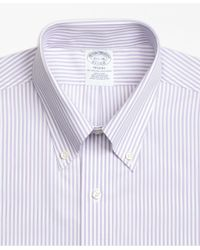 Brooks Brothers - Purple Regent Fitted Dress Shirt, Non-iron Bengal Stripe for Men - Lyst