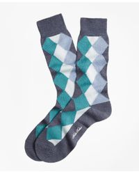 Brooks Brothers - Gray Solid With Argyle Crew Socks for Men - Lyst