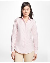 Brooks Brothers - Pink Classic-fit Supima® Cotton Oxford Stripe Forward-point Shirt - Lyst