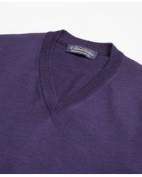 Brooks Brothers - Purple Brookstech Merino Wool V-neck Sweater for Men - Lyst