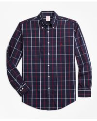 Brooks Brothers - Blue Non-iron Madison Fit Double-windowpane Sport Shirt for Men - Lyst