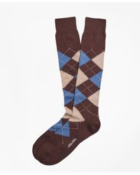 Brooks Brothers - Brown Cotton Argyle Over-the-calf Socks for Men - Lyst