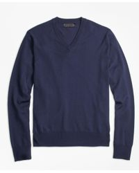 Brooks Brothers | Blue Brookstech Merino Wool V-neck Sweater for Men | Lyst