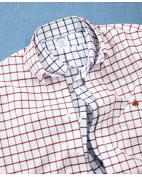 Brooks Brothers - Red Non-iron Milano Fit Windowpane Sport Shirt for Men - Lyst