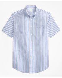Brooks Brothers - Blue Milano Fit Alternating Stripe Seersucker Short-sleeve Sport Shirt for Men - Lyst