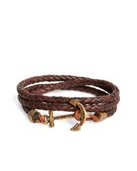 Brooks Brothers - Kiel James Patrick Brown Leather Rope Bracelet for Men - Lyst