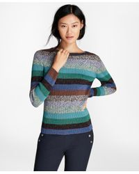 Brooks Brothers - Multicolor Shimmer-stripe Rib-knit Sweater - Lyst