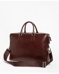 Brooks Brothers - Brown Soft Leather Briefcase for Men - Lyst