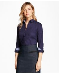 Brooks Brothers - Blue Tailored-fit Patchwork Jacquard Shirt - Lyst