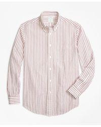 Brooks Brothers Red Milano Fit Triple Stripe Seersucker Sport Shirt for men