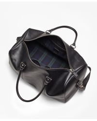 Brooks Brothers - Leather With Black Watch Duffle Bag for Men - Lyst