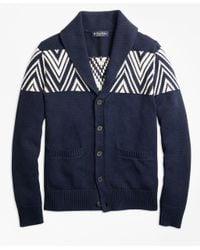 Brooks Brothers - Blue Geometric Shawl Collar Cardigan for Men - Lyst