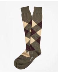 Brooks Brothers - Green Argyle Over-the-calf Socks for Men - Lyst